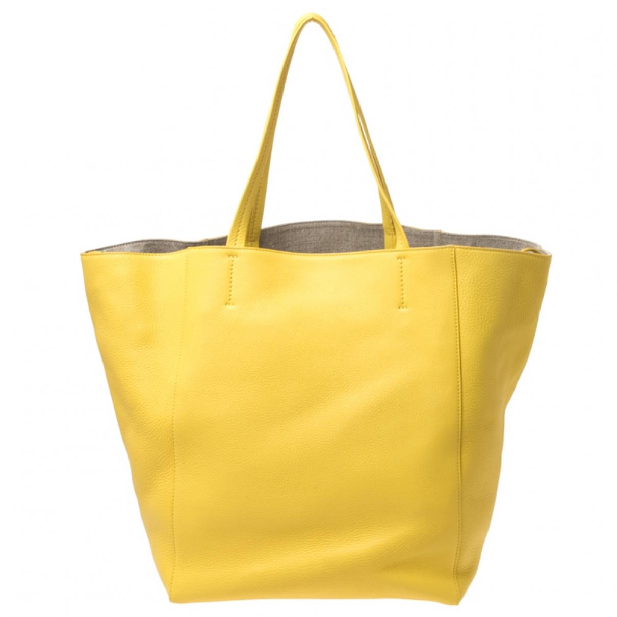 Celine - Sac a main   pour femme en cuir - jaune