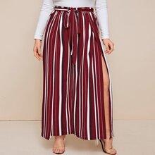 Pantalones anchos con cinturon con abertura de rayas - grande