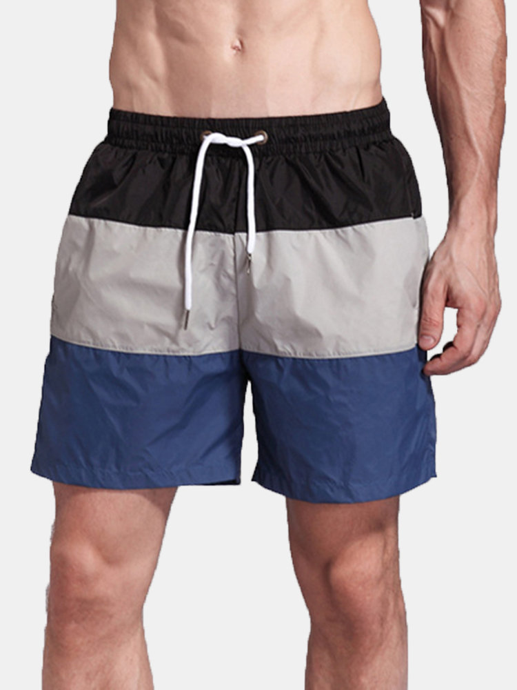 Fitness Sport Loose Patchwork Quickly Dry Board Shorts for Men
