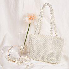 Faux Pearl Beaded Tote Bag