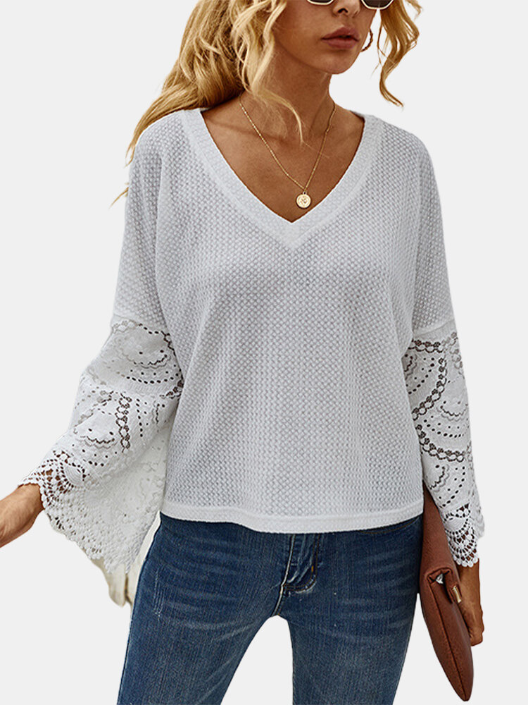 Solid Color V-neck Lace Patchwork Long Sleeves Casual Blouse