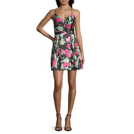 B. Darlin Spaghetti Strap Party Dress-Juniors, 5 , Black