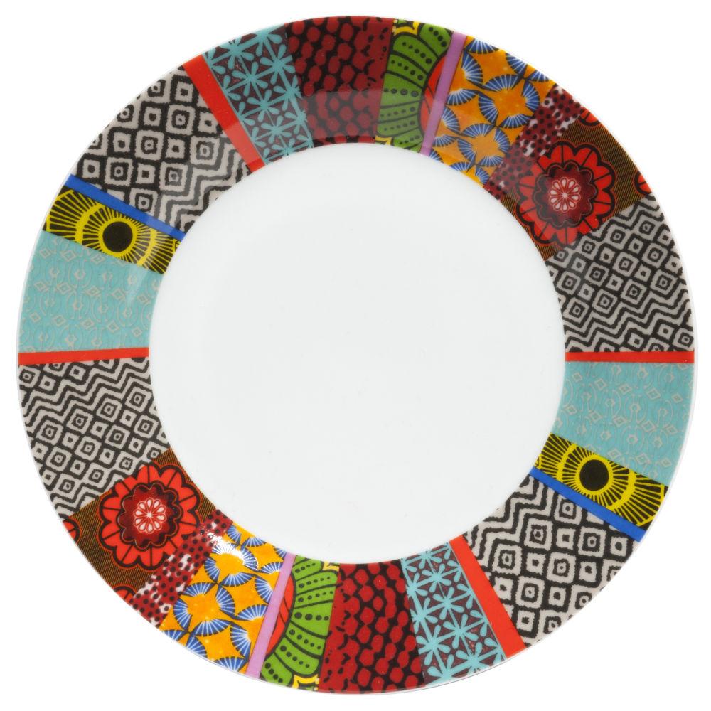 Flacher Teller aus Porzellan, grafischen Motiven bunt
