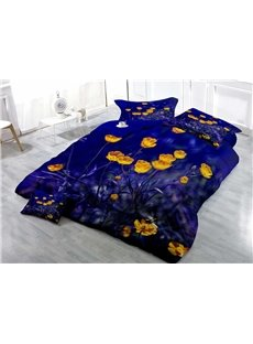 Yellow Tulip in Dark Wear-resistant Breathable High Quality 60s Cotton 4-Piece 3D Bedding Sets