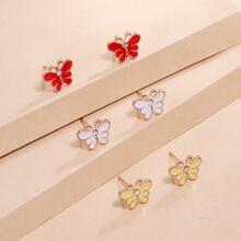 3 pares pendientes con mariposa