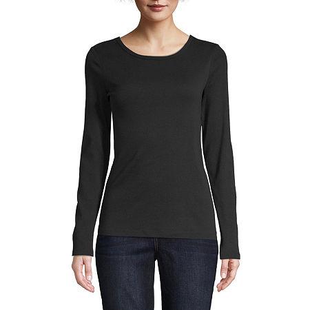St. John's Bay-Womens Long Sleeve T-Shirt, X-large , Black