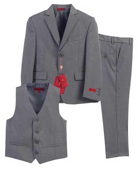 Boys Formal Gray 3 Piece Notch Lapel Single Breasted Vest Suit