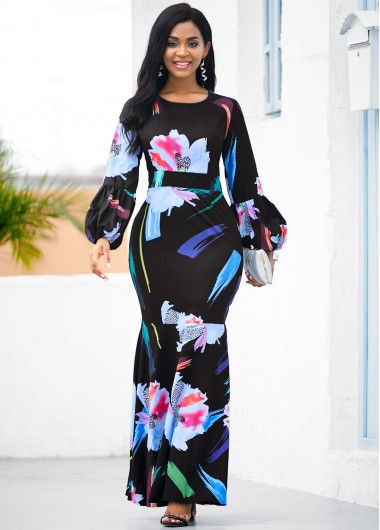Wedding Guest Dress Floral Print Lantern Sleeve Mermaid Dress - XS