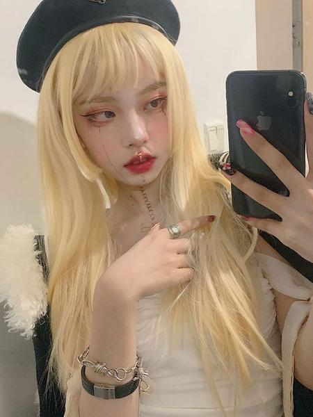 Milanoo Long Lolita Wigs Light Gold Heat Resistant Fiber Lolita Hair Wig