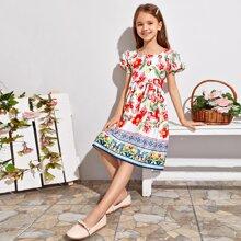 Kleid mit Puffaermeln und Blumen Muster