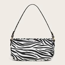 Zebra Print Baguette Bag