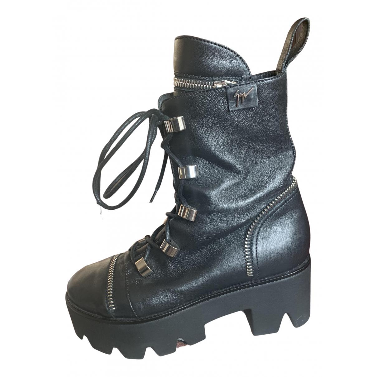 Giuseppe Zanotti \N Black Leather Boots for Women 38.5 EU