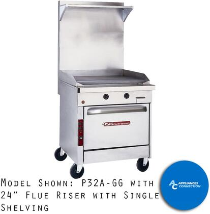 SSRS2432 Platinum Series 24-Inch High Flue Riser with Stainless Steel Rear  32-Inch Wide  Single