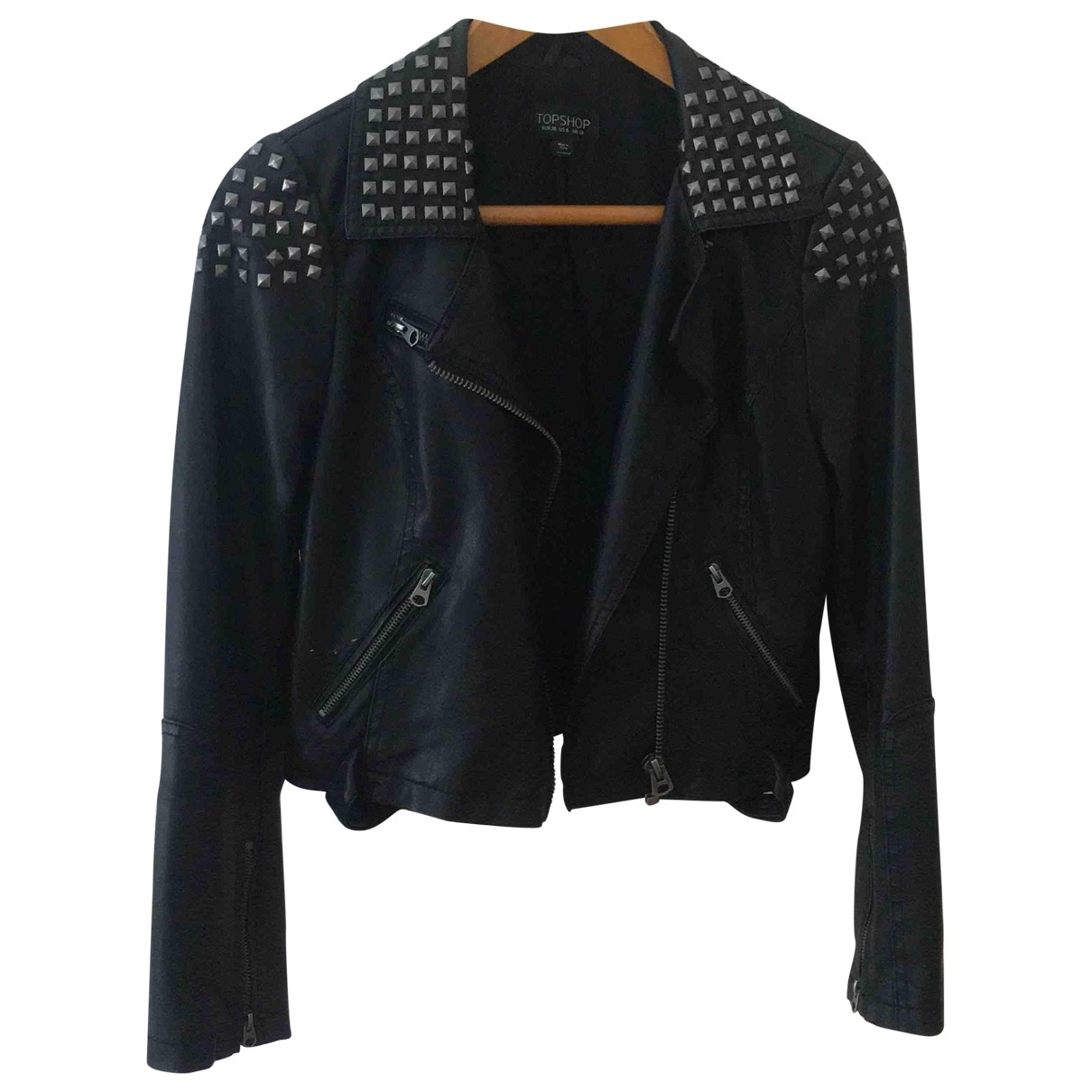 tophop \N Black Leather jacket for Women 10 UK