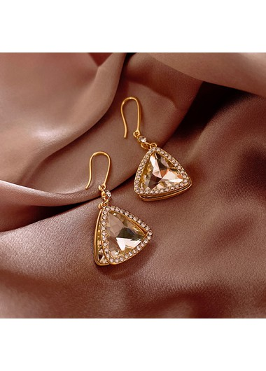 Mother's Day Gifts Metal Rhinestone Embellished Gold Earring Set - One Size