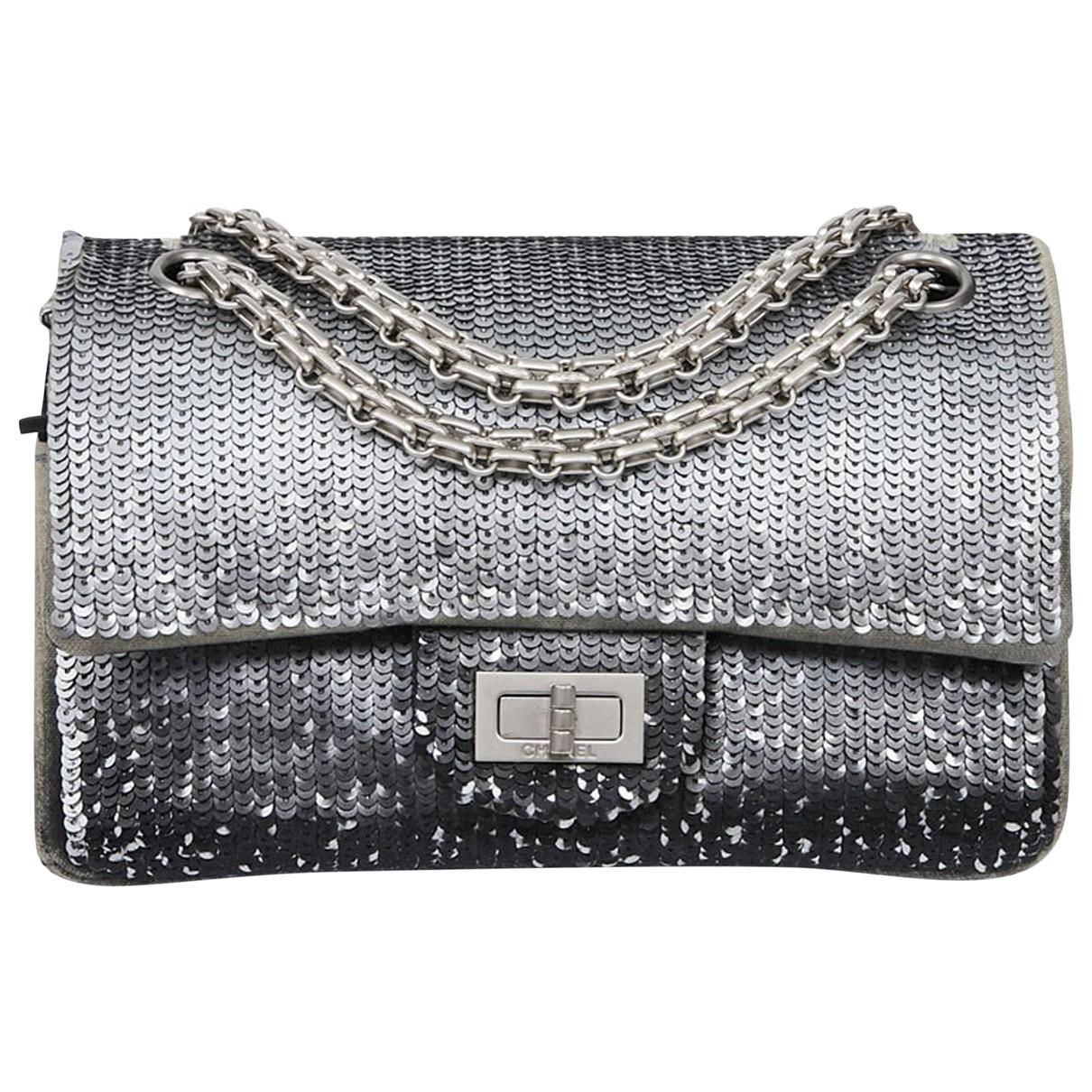 Chanel 2.55 Handtasche in  Silber Mit Pailletten