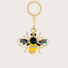 Rhinestone Decor Bee Keychain