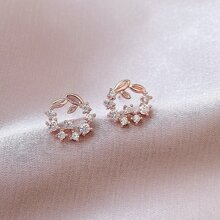 Rhinestone Leaf Design Stud Earrings