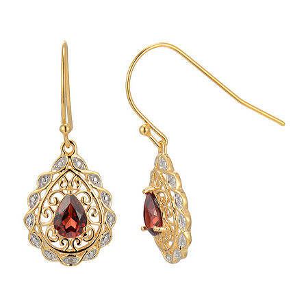 Silver Treasures Catalog Internet 1 Pair Garnet 18K Gold Over Silver Pear Drop Earrings, One Size , No Color Family