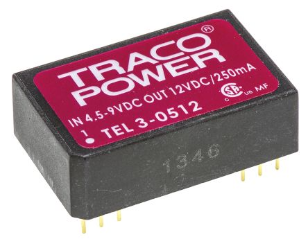TRACOPOWER TEL 3 3W Isolated DC-DC Converter Through Hole, Voltage in 4.5 → 9 V dc, Voltage out 12V dc