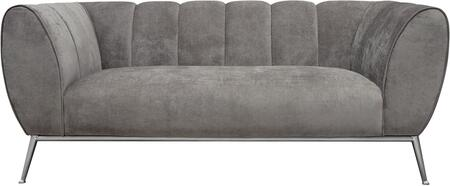 Jade Collection JADELOGR 75 Loveseat with Fabric Upholstery  Wedge Arms  Metal Trim and Leg in Silver Finish  Vertical Channel Tufting Seat and Back