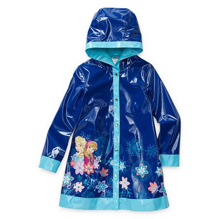 Disney Collection Little & Big Girls Frozen Water Resistant Midweight Raincoat, 2 , Blue