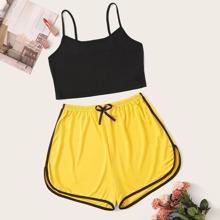 Cami Top With Elastic Waist Shorts PJ Set