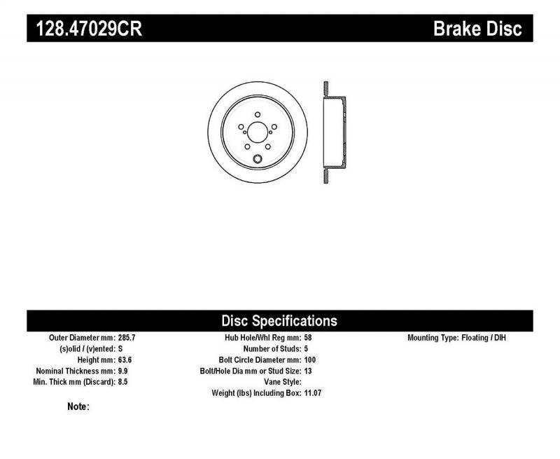 StopTech 128.47029CR Sport Cryo Cross Drilled Brake Rotor; Rear Right Subaru Rear Right