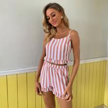 Ruffle Hem Striped Cami Top & Shorts Set