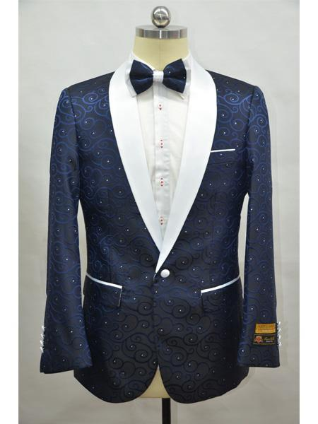 Cheap Mens Printed Flower Jacket Prom modern Tux Navy Blue ~ White