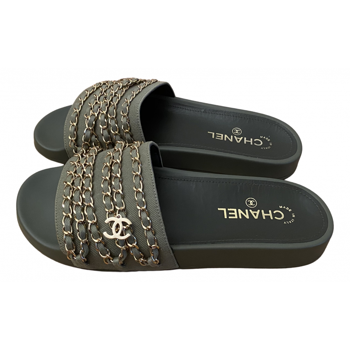 Chanel - Sandales   pour femme en caoutchouc - kaki