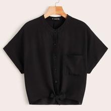 Pocket Patched Tie Hem Solid Shirt
