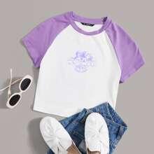 Camiseta de manga raglan con estampado de letra y angel