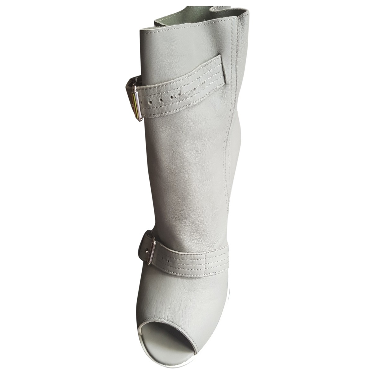 Hogan \N Grey Leather Ankle boots for Women 37 EU