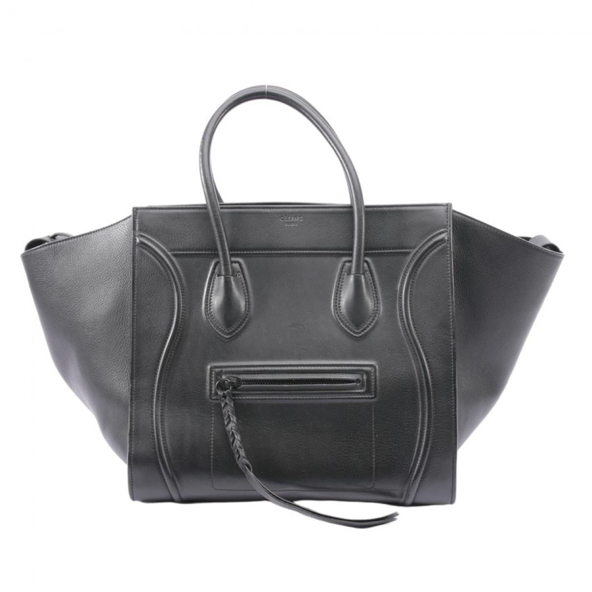 Celine - Sac a main Luggage Phantom pour femme en cuir - noir