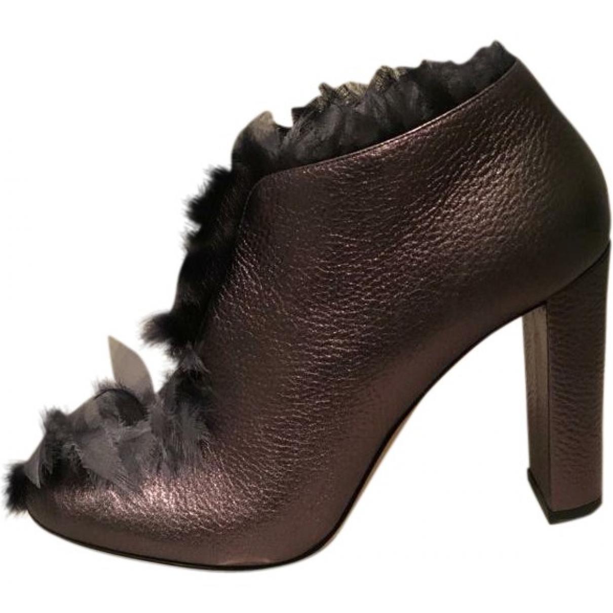 Jimmy Choo - Boots   pour femme en cuir - anthracite