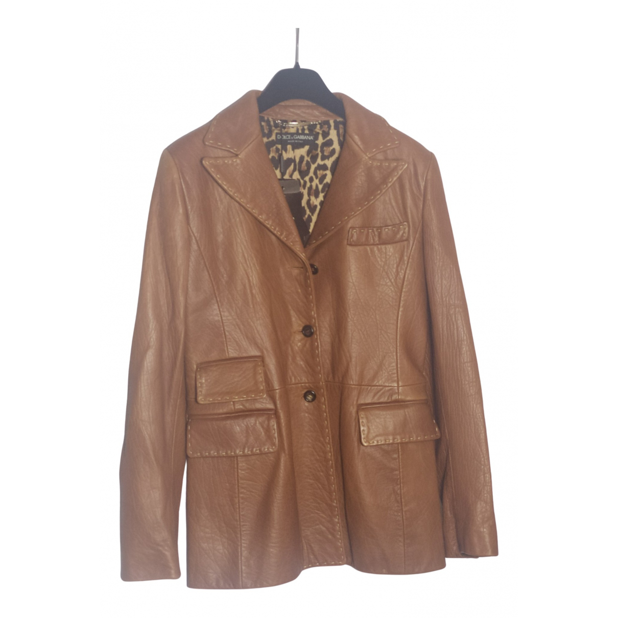 Dolce & Gabbana N Camel Leather jacket for Women 42 IT