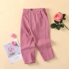 Toddler Girls Contrast Stitch Slant Pocket Jeans