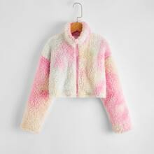 Girls Zip Up Tie Dye Teddy Jacket