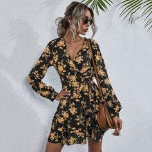 Allover Floral Print Layered Hem Belted Dress