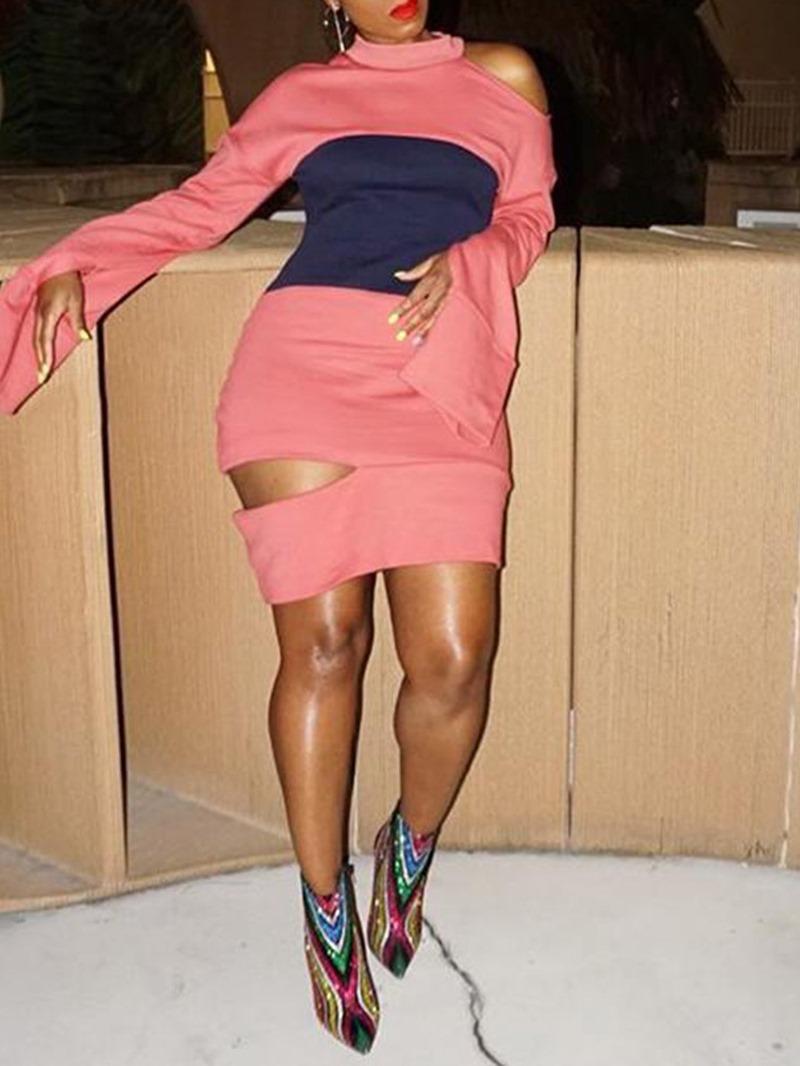 Ericdress Above Knee Patchwork Stand Collar One-Shoulder High Waist Dress