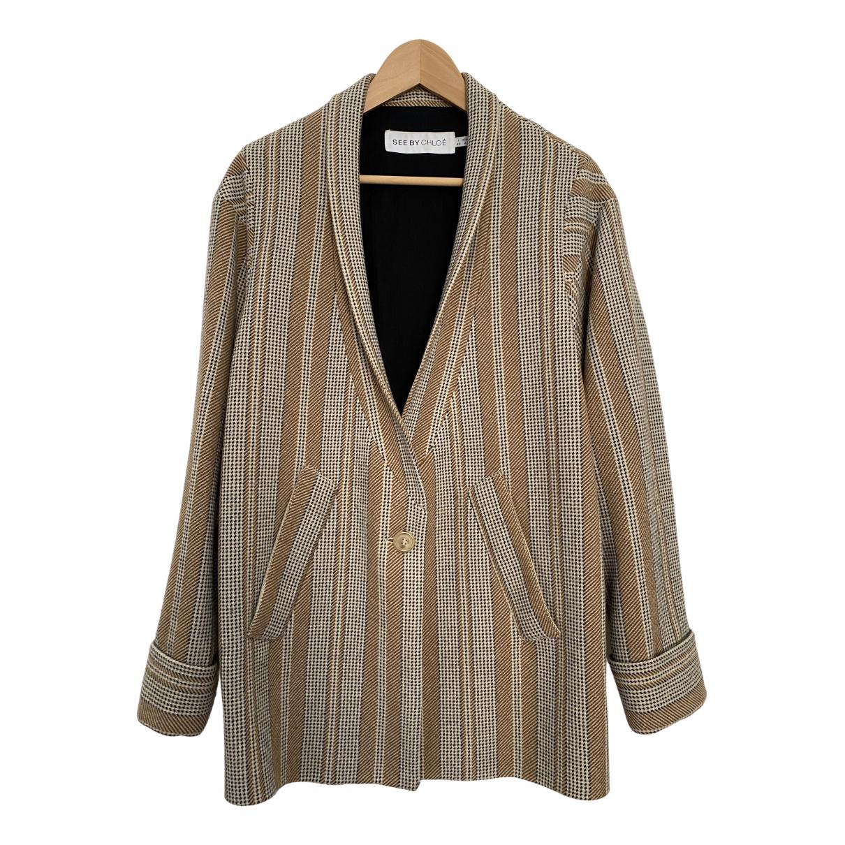 See By Chloe - Veste   pour femme en laine - beige