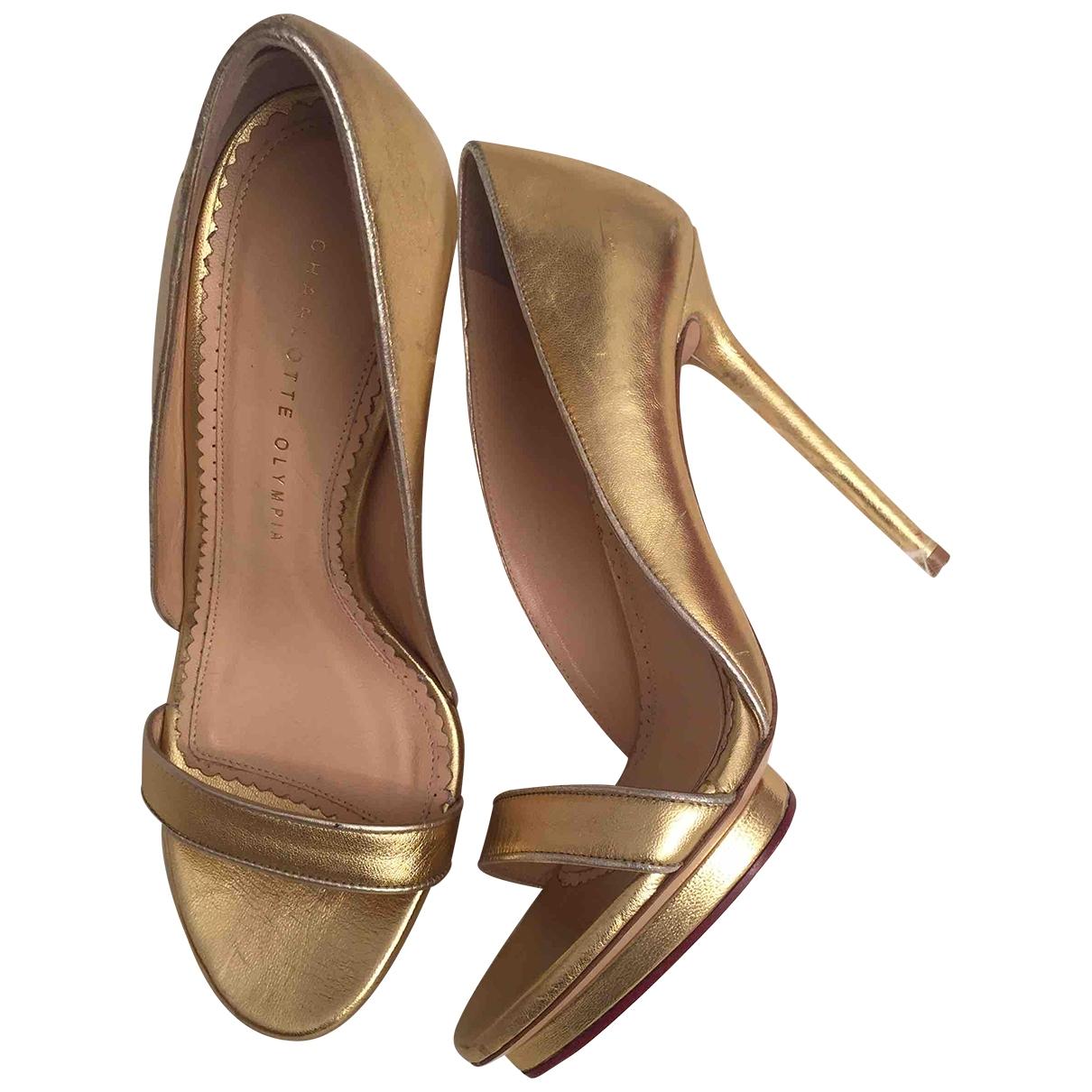 Charlotte Olympia - Sandales   pour femme en cuir - dore