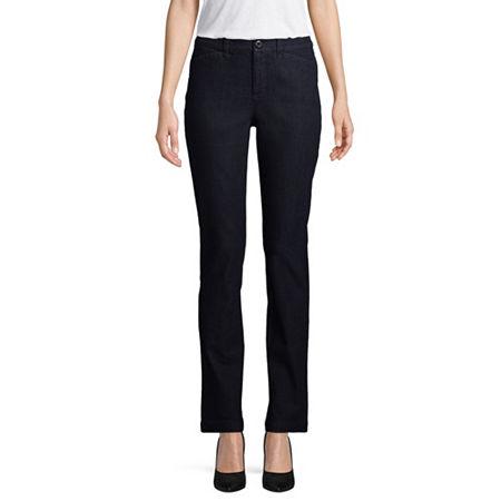 St. John's Bay Secretly Slender Womens Straight Flat Front Pant, 6 Petite Short , Blue