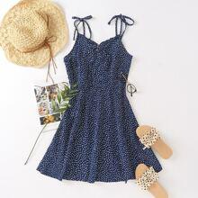 Cami Kleid mit Knoten auf Schulter und Dalmatiner Muster