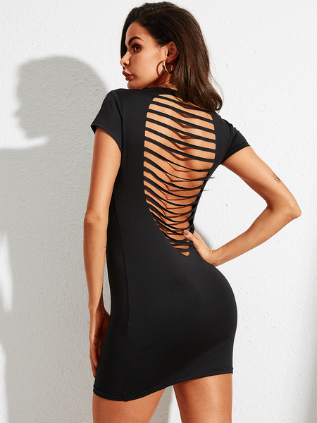 YOINS Backless Design Cut Out Scoop Neck Short Sleeves Dress