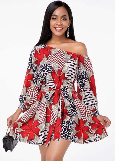 Red Dresses Tribal Print Lantern Sleeve Belted Dress - XL