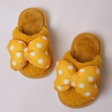 Girls Polka Dot Bow Decor Fluffy Slippers