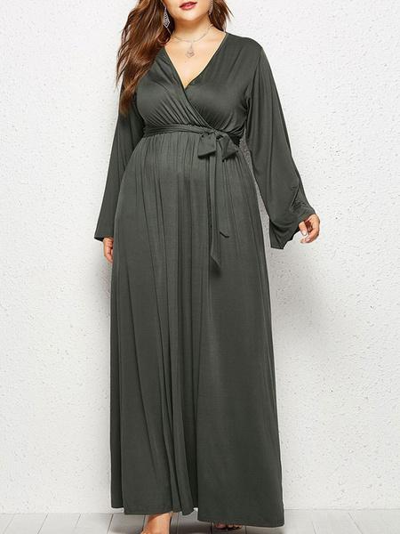 Milanoo Plus Size Dress For Women Deep Gray Casual Dress