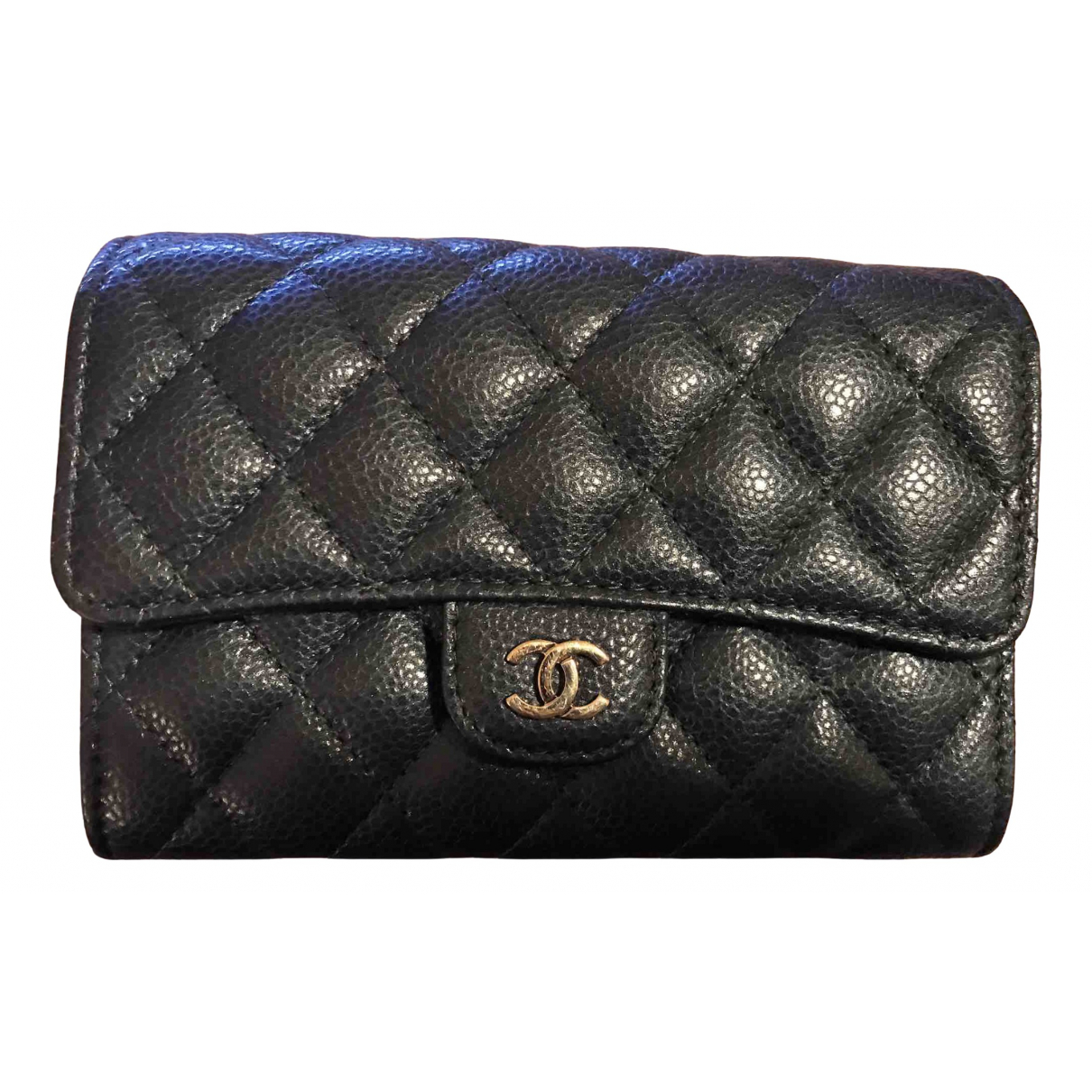 Chanel Timeless/Classique Portemonnaie in  Blau Leder